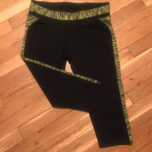 Fabletics Yellow and Black Workout Capris Size M